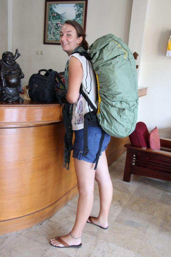 Emilie Russo et son sac de huit kilos.