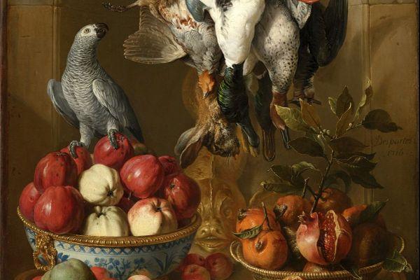 Détail de cette nature morte, datée de 1716, peinte par Alexandre-François Desportes, commandée par le Régent Philippe d'Orléans, grand collectionneur d'art. Le tableau, estimé entre 150.000 et 200.000 euros, a finalement été acheté à 2.029.500 euros au terme d'une bataille d'enchères très rapide.