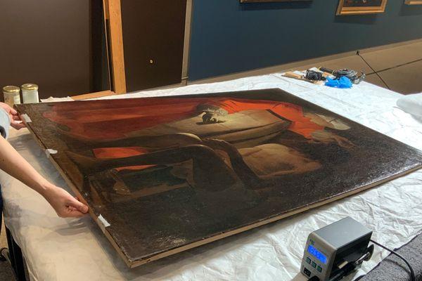 """Le tableau """"Job raillé par sa femme"""" de Georges de La Tour prêté  par le Musée départemental d'art ancien et contemporain d'Epinal au Palazzo Reale de Milan de février à juin 2020."""