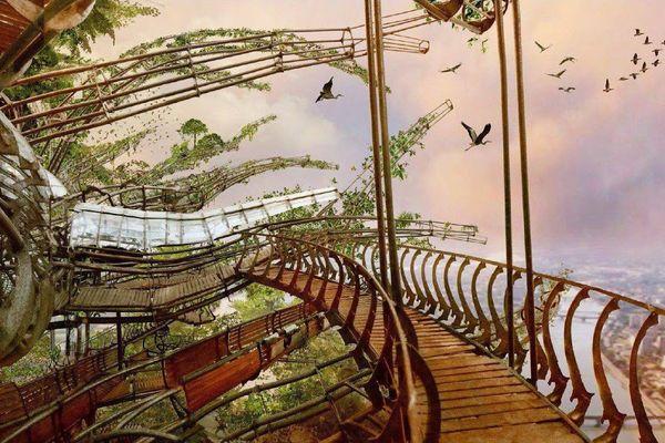 L'une des 22 branches imaginées de l'Arbre aux hérons.