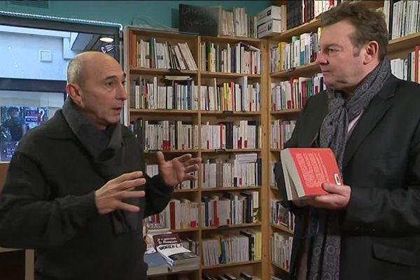 Frank Lanot et Jacques Perrotte à la librairie Euréka Street à Caen.