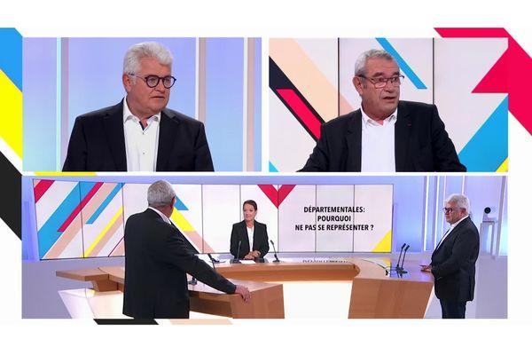 Elections départementales 2021 : deux présidents sur le départ. Philippe Grosvalet - Président (PS) du conseil départemental de Loire-Atlantique et Yves Auvinet Président (DVD) du conseil départemental de la Vendée ont annoncé leur retraite politique.