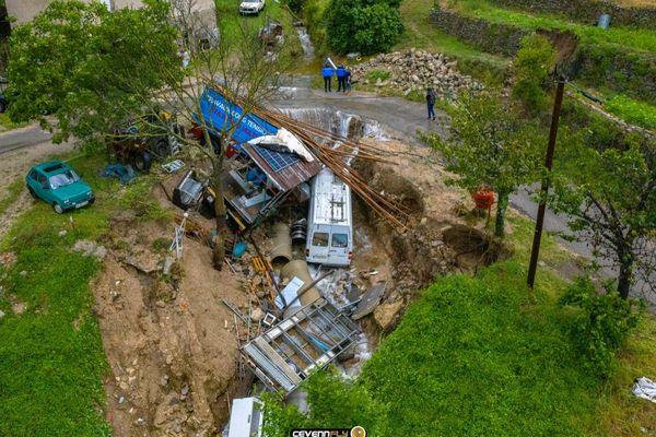 Importants dégâts matériels suite aux inondations à Saint-André-de-Majencoules dans le Gard le vendredi 12 juin 2020.
