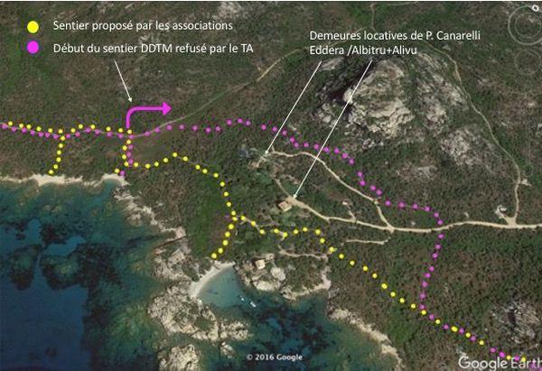 Les deux tracés proposés, par la DDTM et U Levante.