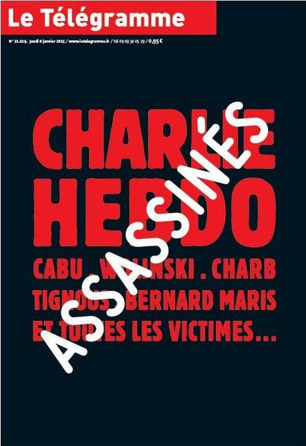 La Une du Telegramme Charlie Hebdo ce 8 janvier