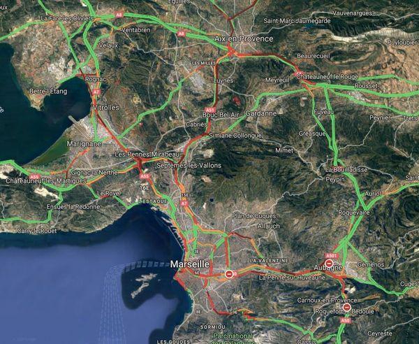 Etat de la circulation ce matin à 9 h, à Marseille, Aubagne et à Aix.