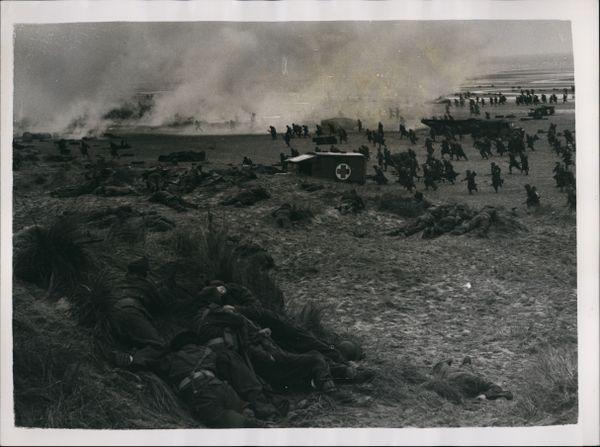 Reconstitution de l'évacuation de Dunkerque sur la plage de Camber Sands en Angleterre