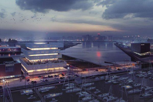 A gauche : les locaux de la future Cité Numérique du Havre