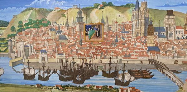 """Rouen en 1525. Issue des parchemins du """"Livre des Fontaines"""", cette grande vue a été restaurée et """"recolorisée"""" à la gouache en 1843."""