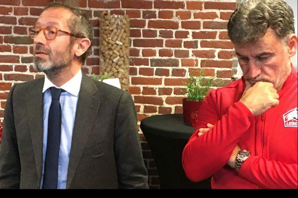 Marc Ingla aux côtés de Christophe Galtier lors des voeux à la presse en début d'année.