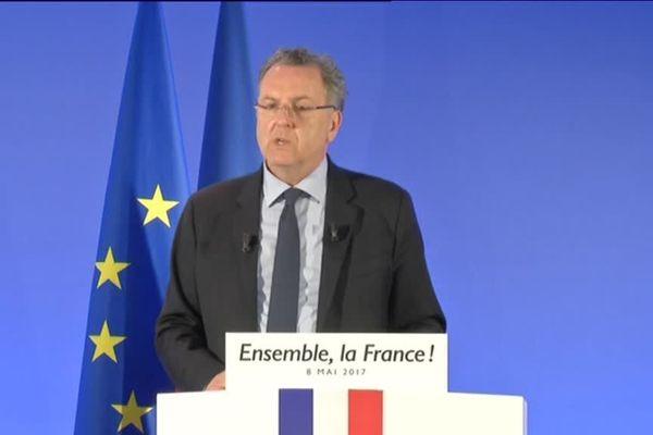 Richard Ferrand, secrétaire général En Marche!, lors de la conférence de presse du mouvement le 8 mai 2017