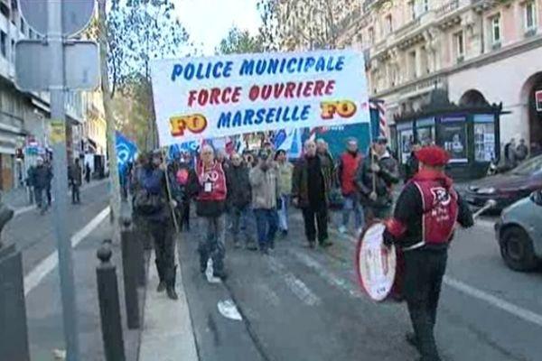 Manifestation des policiers municipaux à Marseille