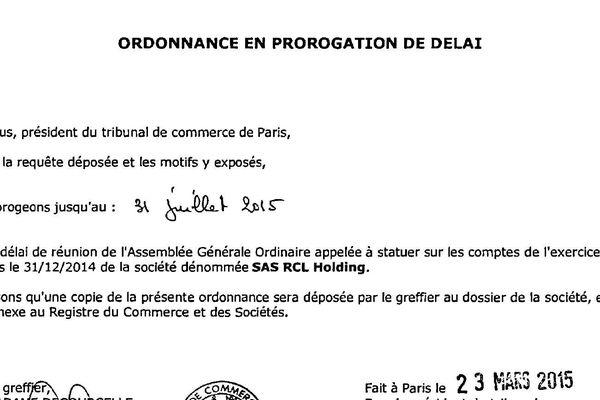 RCL Holding a obtenu le 23 mars 2015 un report pour statuer sur ses comptes.