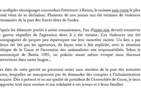Communiqué du Président de l'Assemblée de Corse