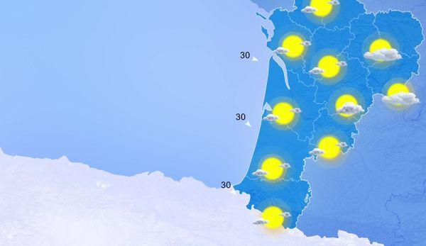 le soleil domine sur toute la Nouvelle-Aquitaine malgré la présence de nuages un peu plus nombreux sur l'est de la région...