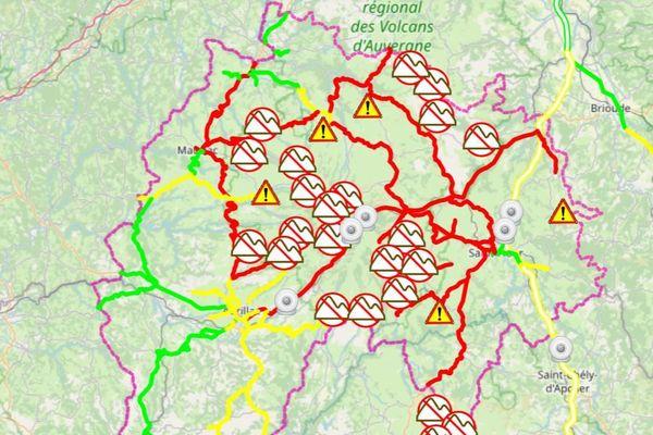 En noir : route fermée En rouge : circulation difficile En jaune : circulation délicate En vert : pas de difficulté signalée