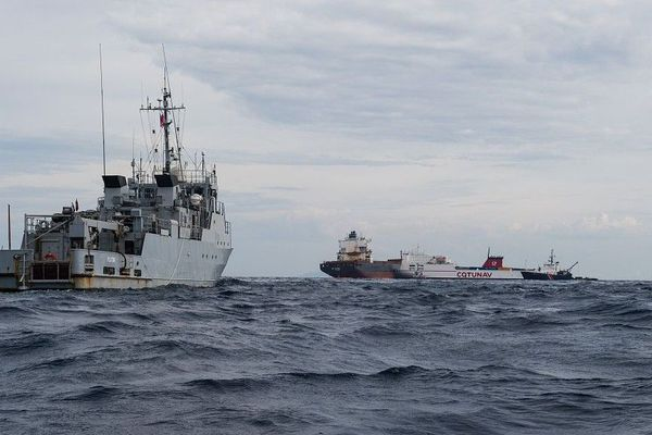 Arrivée du BBPD Pluton le mercredi 10 octobre 2018 sur la zone de la collision au large du Cap Corse.