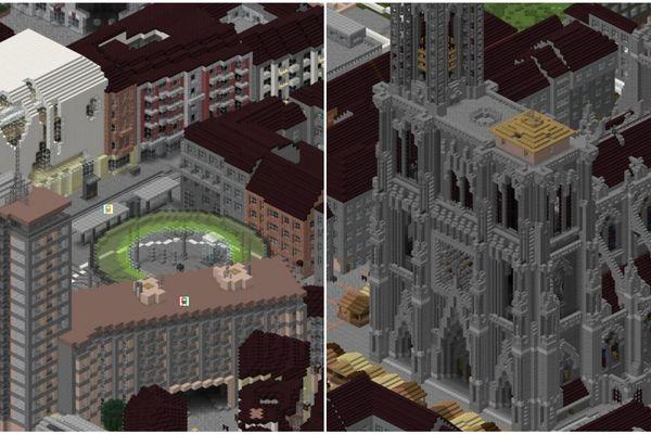 À gauche, une vue aérienne de la place de l'Homme de Fer (on distingue le Printemps). À droite, Notre-Dame de Strasbourg.