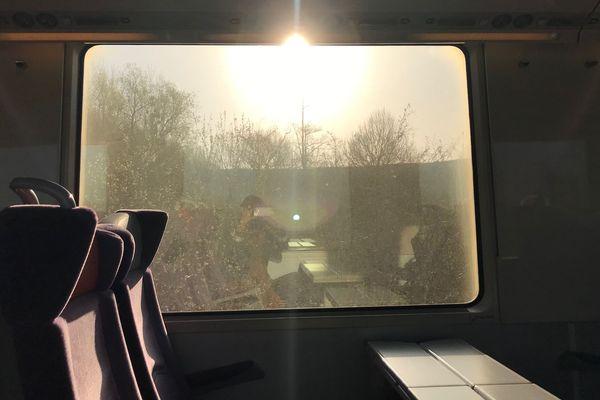 A bord du train Caen-Paris