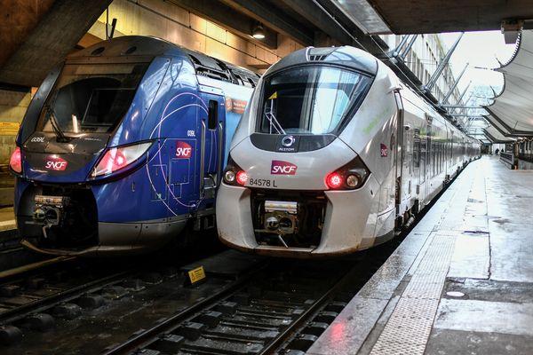 Des TER à la gare Montparnasse à Paris, illustration.