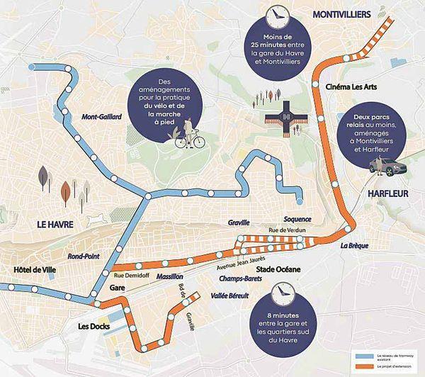 En bleu, les lignes existantes, en orange le projet d'extension du tram du Havre