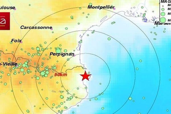 Un séisme de magnitude 3,1 a été enregistré à 16 km au sud de Cerbère, dans les Pyrénées-Orientales - 19 novembre 2015