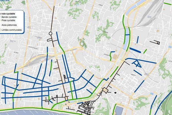 Réseau cyclable existant à Nice Centre, plan de la Métropole Nice Côte d'Azur