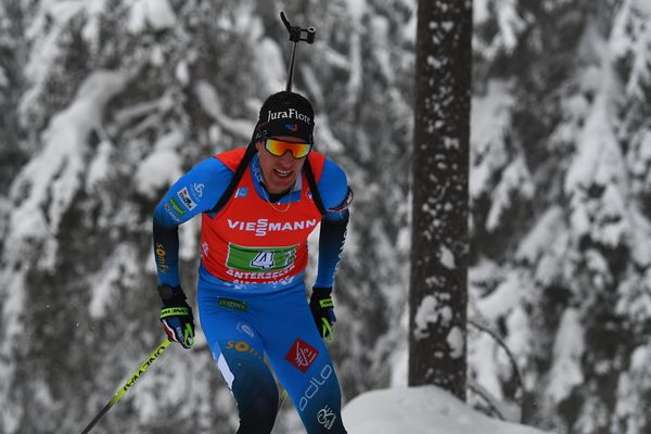 Quentin Fillon-Maillet lors de la Coupe du Monde de Biathlon à Anterselva - Antholz en 2021.