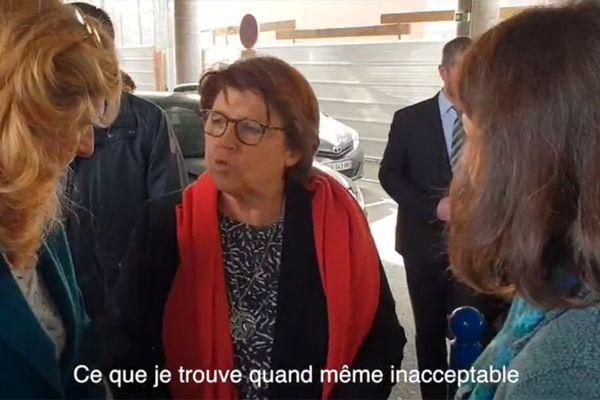 Martine Aubry au centre. Nicole Belloubet à gauche. Agnès Buzyn à droite. Ce vendredi au CHRU de LIlle