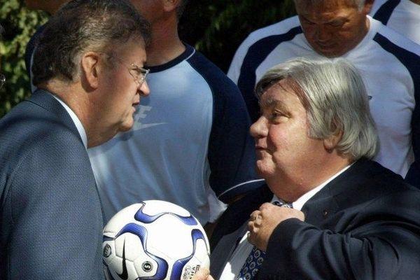 Georges Frêche maire de Montpellier et Louis Nicollin président du club de football en 2003