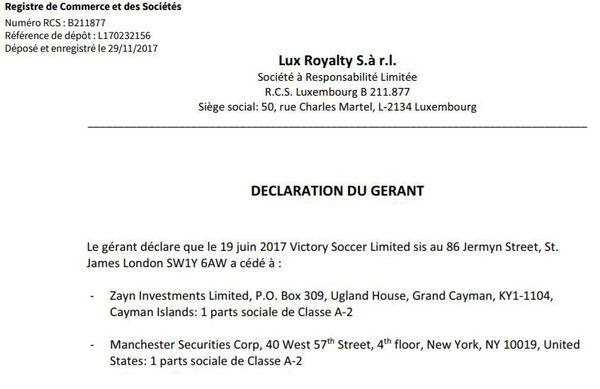 """Extrait du registre de commerce et des sociétés du Luxembourg indiquant l'entrée de Zayn Investments et Manchester Securities au capital de Lux Royalty, """"maison-mère"""" du LOSC."""
