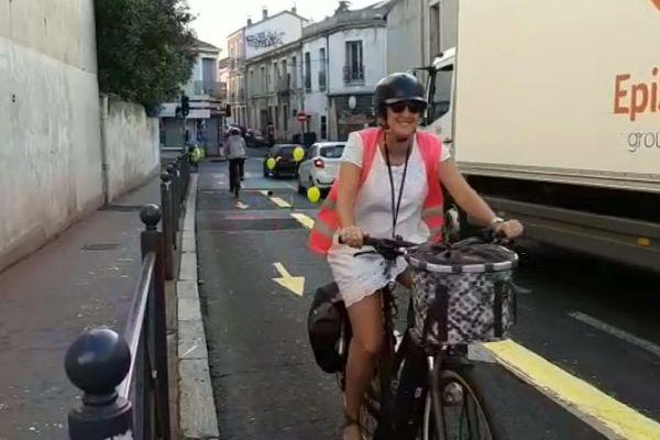 La fausse piste cyclable empruntée par de vrais cyclistes rues Gerhardt et Doria à Montpellier dans le quartier des Arceaux a été rapidement effacée par les services municipaux. 16/09/2019