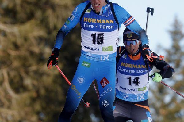 Quentin Fillon Maillet sur le 20 km individuel messieurs aux Mondiaux de biathlon de Slovénie