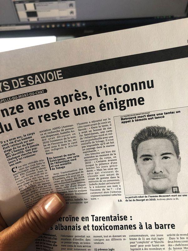 """Article du Dauphiné Libéré sur """"l'inconnu du lac"""", onze après."""