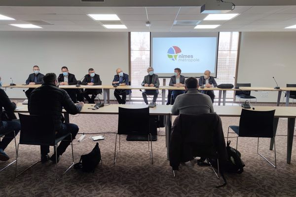 Conférence de presse menée au siège de Nîmes Métropole, ce samedi 27 février.