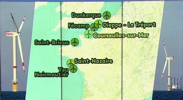 Projets de parcs éolien offshore en France