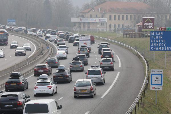 Embouteillage sur l'A43 le 24 février 2018