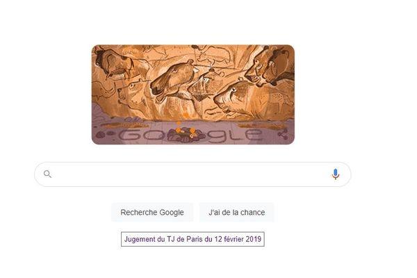 Pendant toute cette journée du 18 décembre, le logo mondial de Google s'incruste dans la grotte Chauvet.