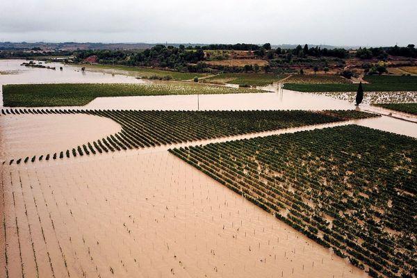Image aérienne des inondations du 15 octobre 2018 dans l'Aude.
