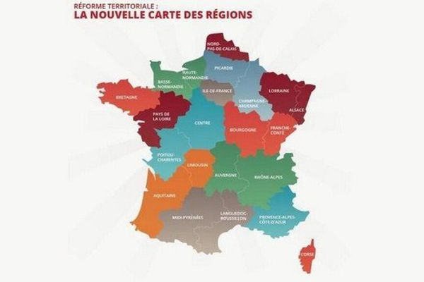 La nouvelle carte des Régions qu'examineront les députés