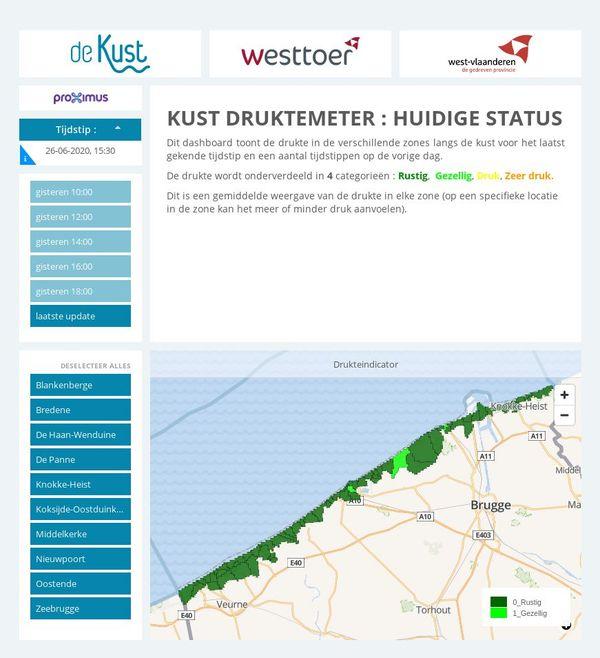 Le site dekust.be. Ce vendredi, toutes les plages de la côte belge sont en vert