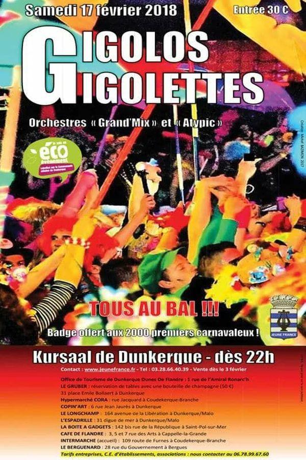 Le Bal des Gigolos et des Gigolettes réunira les Dunkerquois le 17 février