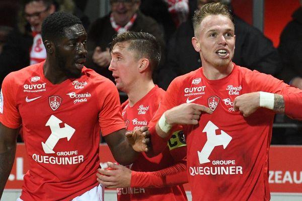 Le Brestois Irvin Cardona après son but lors de la rencontre entre Nantes et Brest le 23/11/2019
