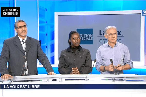 Mohamed Iqbal Zaïdouni, Président du Conseil régional du culte Musulman de Bretagne, Marlène Abondo, Psychiatre au CHU de Rennes et Loïc Schvartz, Dessinateur.