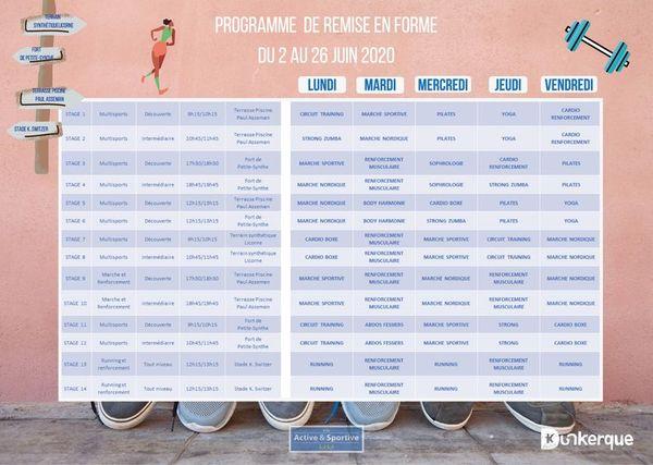 Voici le planning des différentes activités proposées par la mairie de Dunkerque durant le mois de juin