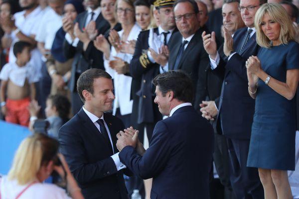 """Le maire de Nice demande à la droite, à passer """"un accord avec Emmanuel Macron"""" envue de l'élection présidentielle de 2022. Photo prise le 14 juillet 2017 lors de l'hommage aux victimes de l'attentat de Nice."""