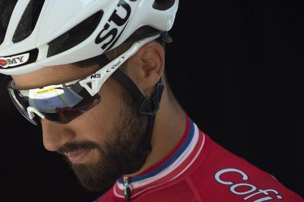 """Nacer Bouhanni lors du Tour d'espagne (""""la Vuelta""""), le 1er septembre 2018."""