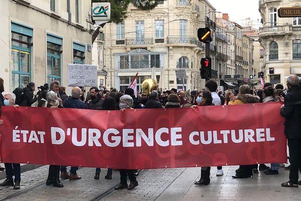 Montpellier - Dans les rues de Montpellier, les professionnels de la culture ont défilé pour alerter sur leur situation - 23.01.21