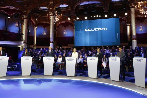 Les sept candidats à la primaire de la droite et du centre, jeudi dernier, lors du second débat.