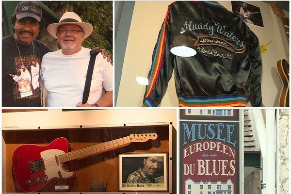Musée Européen du Blues - Châtres-sur-Cher (Loir-et-Cher) - Bobby Rush et Jacques Garcia le 6 avril 2019. A droite, un blouson de Muddy Waters, l'une des pièces exposées à la Maison du Blues.